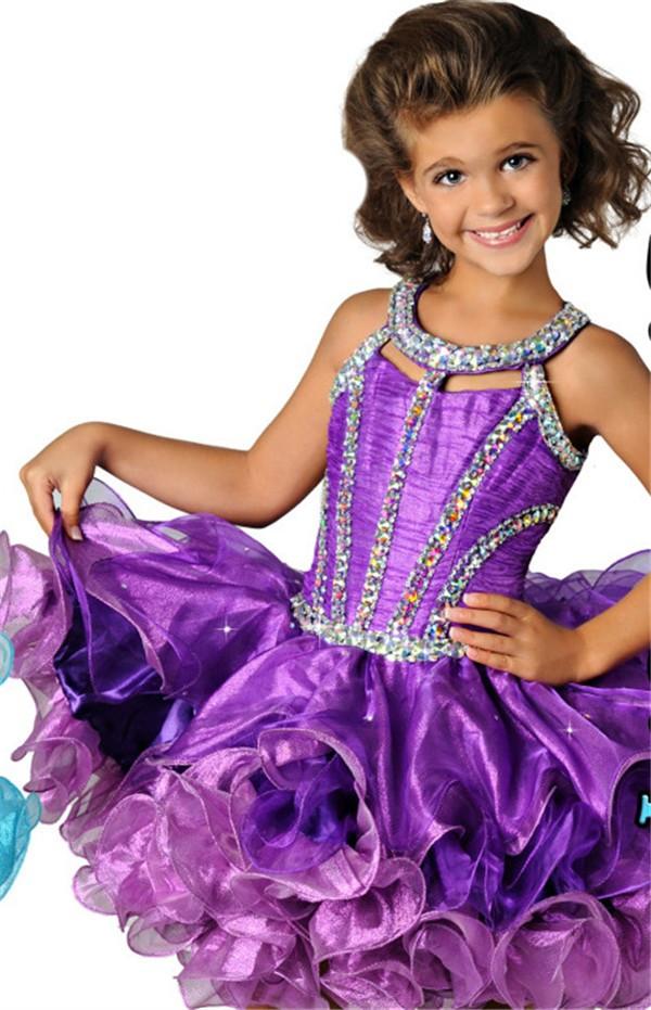 Lovely Halter Short Purple Organza Ruffle Beaded Tutu Girl Pageant Prom Dress