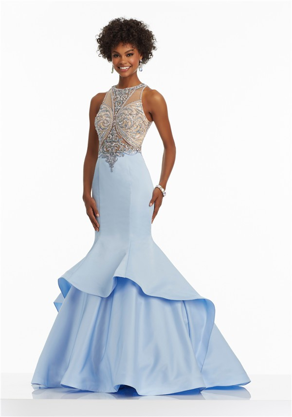 Mermaid High Neck Light Blue Satin Tulle Beaded Prom Dress