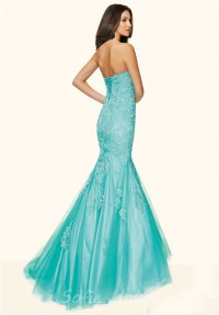 Mermaid Strapless Corset Back Aqua Tulle Lace Beaded Prom ...