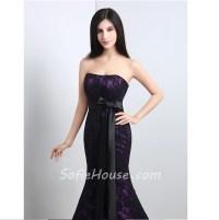 Mermaid Strapless Corset Purple Satin Black Lace Evening ...