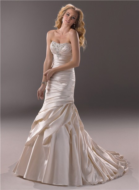 Mermaid Strapless Scoop Neckline Champagne Color Satin Wedding Dress Corset Back