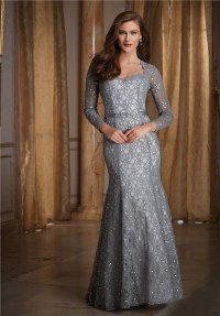 Mermaid Sweetheart Long Sleeve Silver Lace Beaded Formal