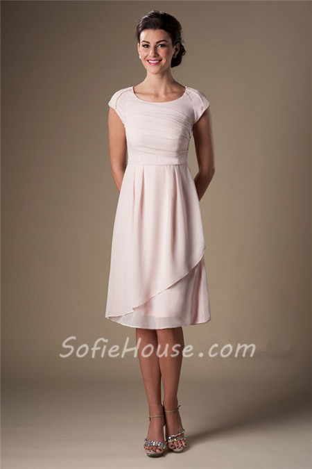 Modest A Line Scoop Neck Sleeved Blush Pink Chiffon Short Party Bridesmaid Dress