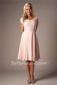 Modest A Line Sweetheart Short Sleeves Blush Pink Chiffon ...