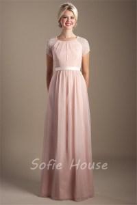 Modest High Neck Long Blush Pink Chiffon Sleeve Beaded ...
