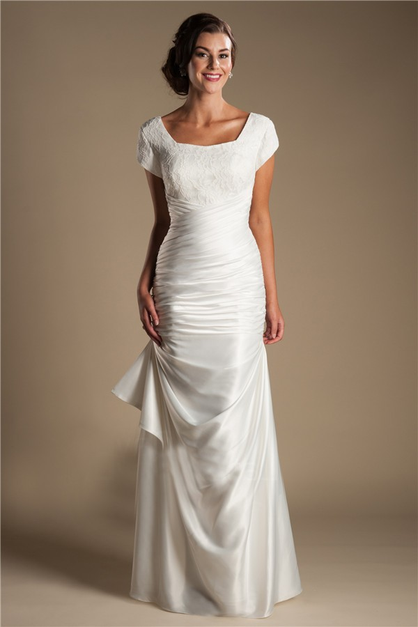 Modest Square Neck Cap Sleeve Silk Satin Ruched Wedding Dress