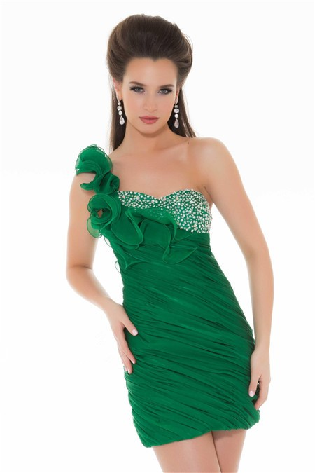 One Shoulder Short Emerald Green Chiffon Beaded Ruffle