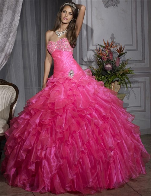 Pretty Ball Gown Hot Pink Organza Quinceanera Dress With