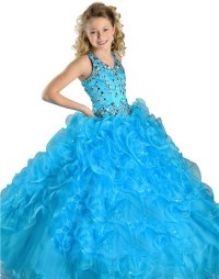 Pretty Halter Turquoise Blue Organza Ruffle Crystal Beaded ...