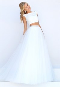 Princess A Line Off The Shoulder Two Piece White Tulle ...