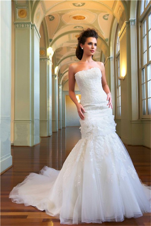 Princess Mermaid Strapless Tulle Lace Beaded Bridal