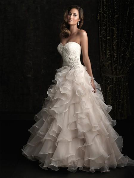 Romantic Ball Gown Sweetheart Champagne Lace Layer Organza Ruffles Wedding Dress