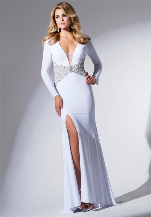 Sexy Deep V Neck Open Back White Jersey Beaded Long Prom Dress With Slit
