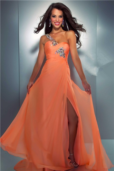 Sexy One Shoulder Long Orange Chiffon Beaded Crystal Prom Dress With Slit