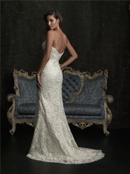 Sexy Sheath Slim Sweetheart Spaghetti Strap Venice Lace Beaded Wedding Dress