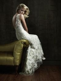 Sexy Sheath V Neck Beaded Lace Destination Wedding Dress ...