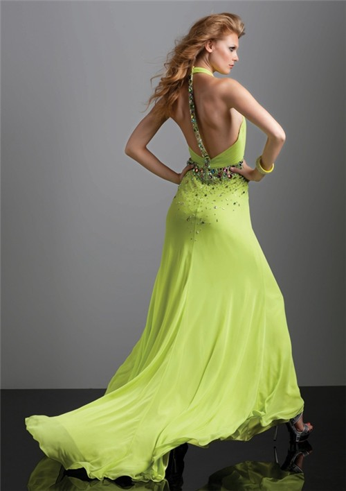 Sexy halter v neck backless long lime green chiffon prom dress with train and beading