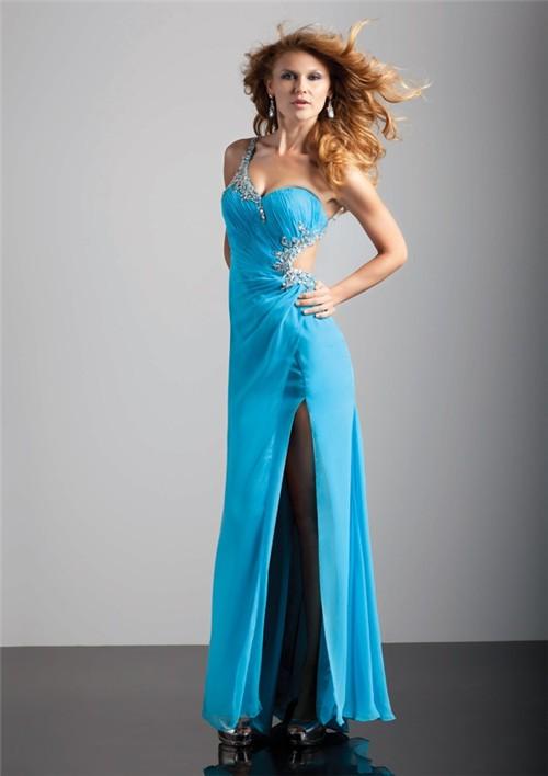 Sexy Sheath One Strap Backless Long Blue Chiffon Prom