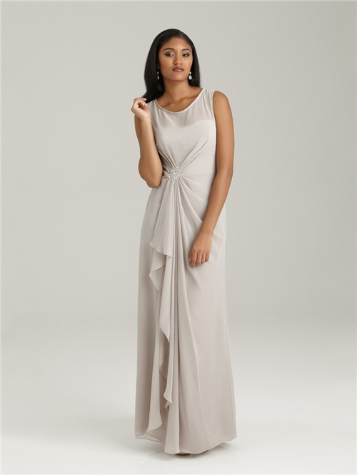 SheathColumn Scoop Long Light Grey Chiffon Modest