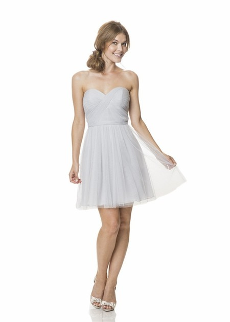 Simple A Line Strapless Sweetheart Short Silver Tulle Pleated Party Bridesmaid Dress