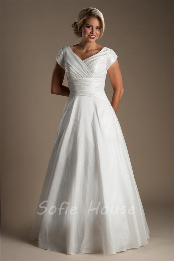 Simple A Line V Neck Taffeta Ruched Modest Wedding Dress With Sleeves Buttons
