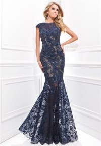 Trumpet Mermaid Sleeved Navy Blue Lace Beaded Prom Dress ...