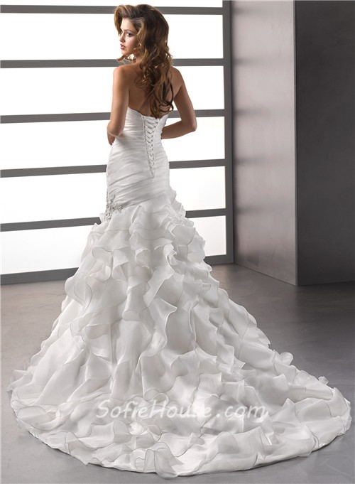 Trumpet Mermaid Sweetheart Court Train Oganza Ruffles Wedding Dress With Corset Back