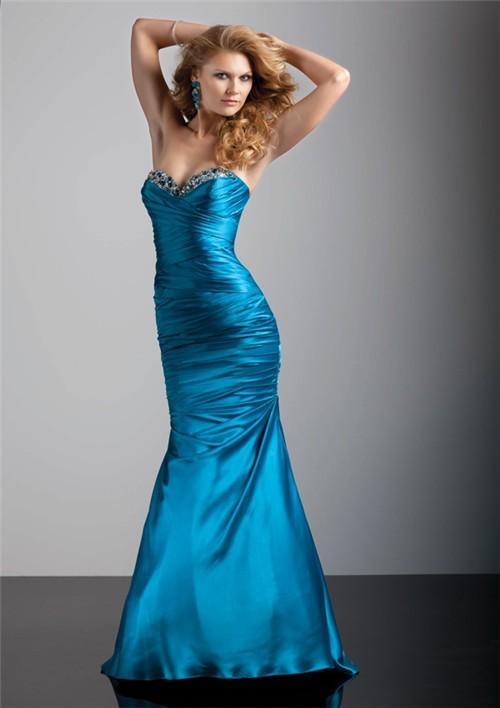 TrumpetMermaid sweetheart floor length blue silk prom dress with corset back