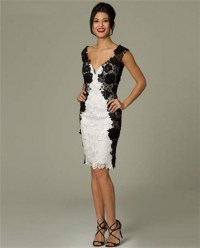 Unusual Fitted Sweetheart Short White And Black Lace ...