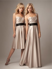 A line one strap knee length short champagne silk ...
