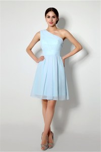 A Line One Shoulder Short Light Blue Chiffon Bridesmaid ...