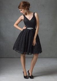 A line v neck knee length black lace bridesmaid dress with ...