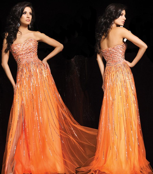 A Line Sweetheart Long Orange Tulle Sparkly Sequin Beaded Prom Dress