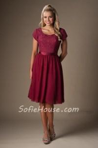 A Line Cap Sleeves Burgundy Chiffon Lace Short Bridesmaid ...