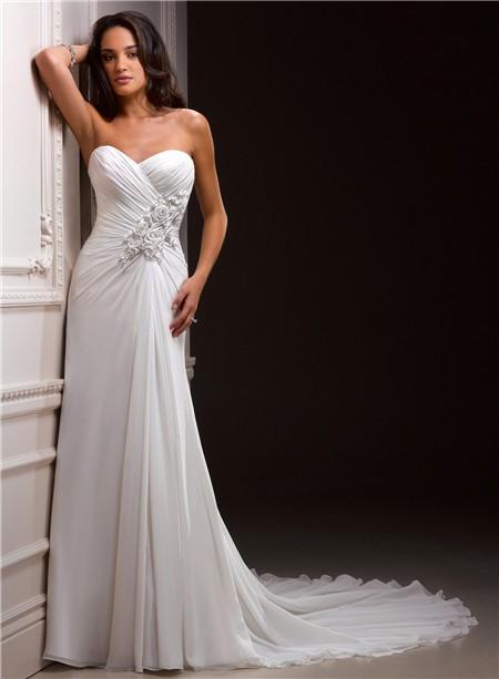 Casual Sheath Sweetheart Chiffon Destination Beach Wedding Dress With Flowers Train