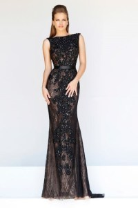 Formal Sheath Bateau Neck Backless Long Black Lace Beaded ...