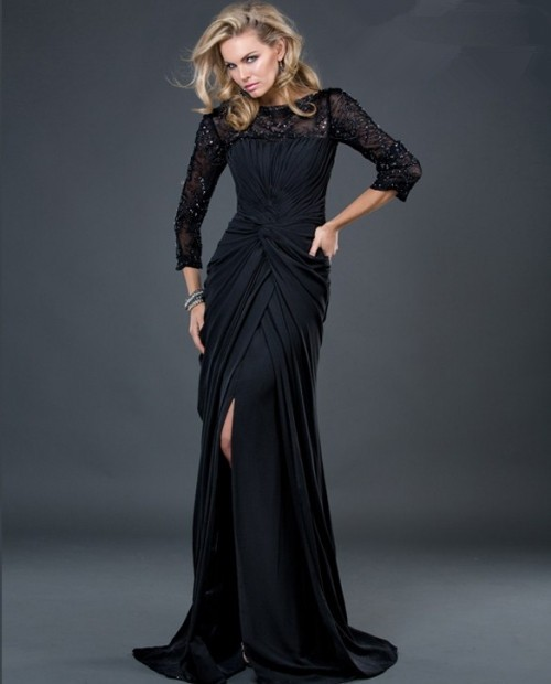 Formal sheath long black jersey evening dress with beaded