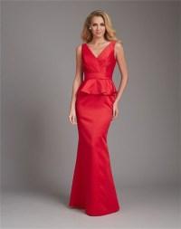 Mermaid V Neck Low Back Long Red Satin Peplum Wedding ...