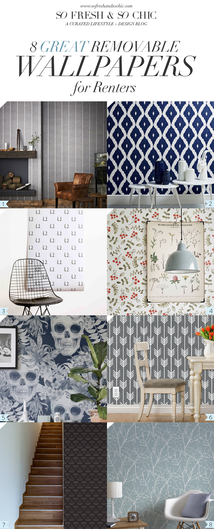 For the Home 8 Great Removable Wallpapers for Renters  So Fresh  So Chic
