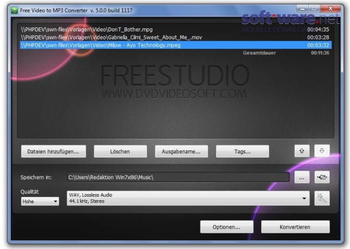 Free Video to MP3 Converter  Download Windows  Deutsch bei SOFTWARENET