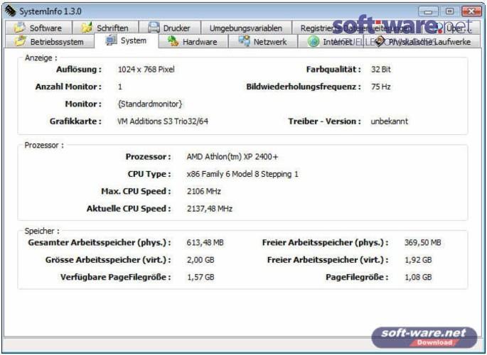 SystemInfo - Download (Windows / Deutsch) bei SOFT-WARE.NET
