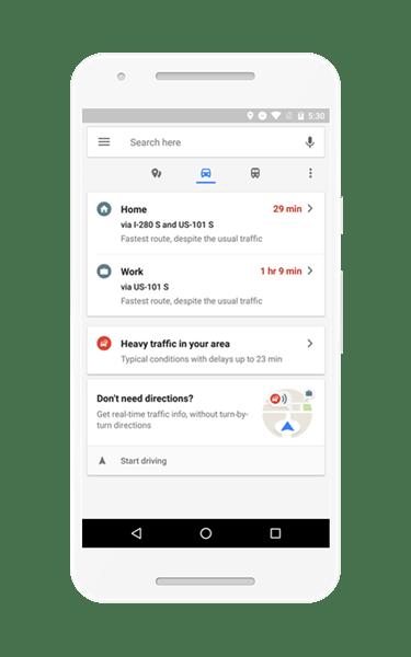 路況、餐廳點指即找!Google地圖App新增即時通勤資訊,Android獨享 homescreen_US_pixel_driving