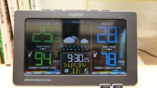 好市多3C:LA CROSSE 無線彩色電子氣象偵測計,具室內外溫溼度監測/預測、天氣預測與日曆報時功能,居家必備超好用! IMG_6669