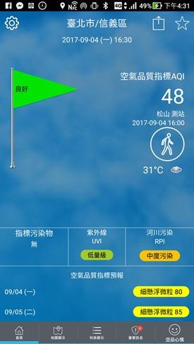 環境即時通 隨時幫你掌握各種空汙指標,推薦安裝(Android、iOS) Screenshot_20170904-163106