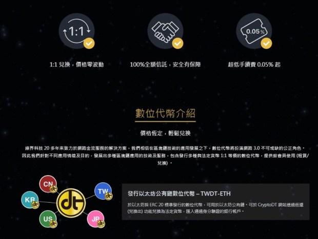 永遠與新台幣 1:1 錨定匯率,綠界科技推 CryptoDT 區塊鏈加密代幣貨幣服務 CryptoDTu4e09u5927u7279u9ede
