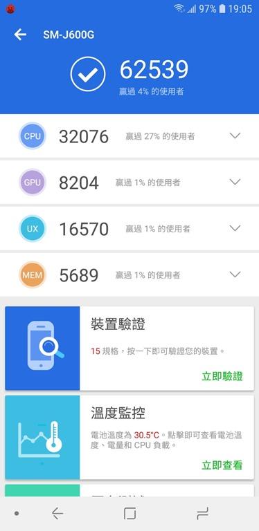八千不到即可擁有,玩美自拍、超大全螢幕、高 CP 值的 Samsung Galaxy J6 Screenshot_20180625-190537_AnTuTu-Benchmark