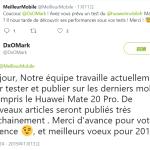 Mate20 Pro DxOMark 分數即將發布,法國比價網站推文