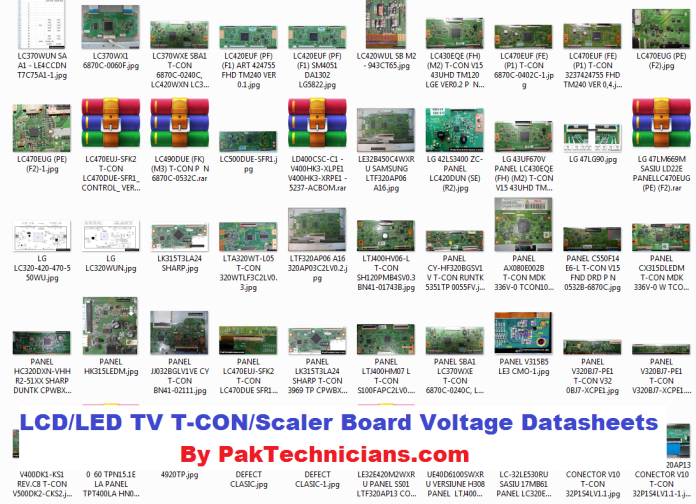 LCD/LED TV T-CON/Scaler Board Voltage Datasheets Collection