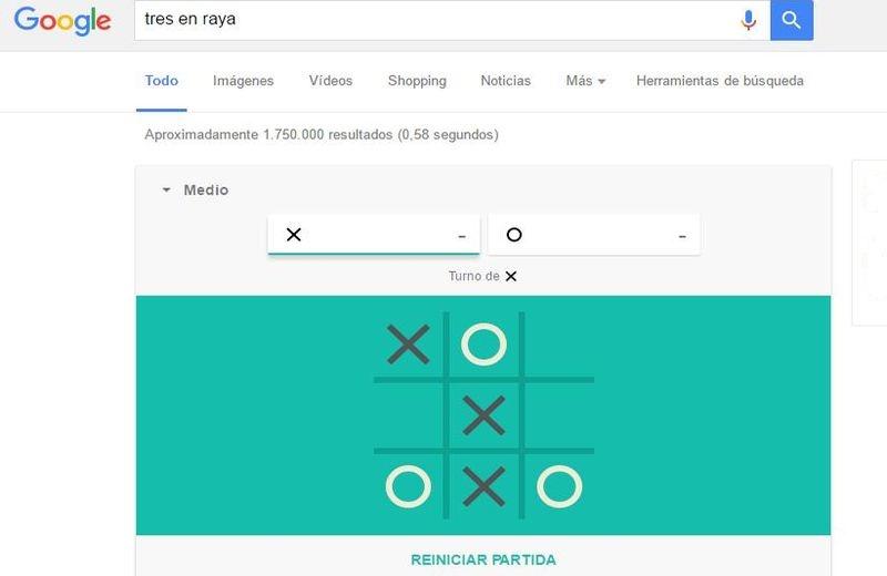 Juegos ocultos en Google Tres en raya Dos juegos ocultos en Google para matar el aburrimiento