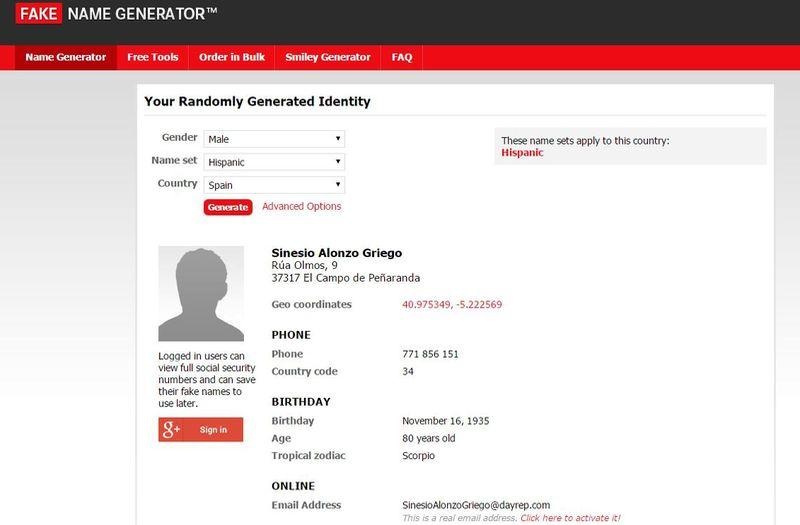 Aplicaciones web sorprendentes Fake Name Generator 5 aplicaciones web sorprendentes que a lo mejor te gustan